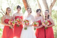 Yay! Bill Levkoff persimmon bridesmaids