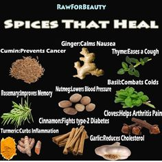 Spices and herbs add flavor and life to your meals. Make room for these commonly available herbs and spices in your kitchen cabinet and include them in your diet as often as you can to boost health and beat disease. Healing Herbs, Medicinal Herbs, Natural Medicine, Herbal Medicine, Holistic Medicine, Natural Cures, Natural Healing, Herbal Remedies, Health Remedies