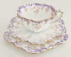 Wileman demitasse teacup trio, lilac & beige Ivy #5044 Empire shape, 1893
