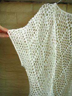 Fringe Crochet Tunic Top Elbow Sleeve Kimono Cardigan Beachwear [CTW26] - $59.00 : Tina Crochet Studio, Fashion Anniversary Gifts for Her Handmade Crochet Women Bohemian Accessory