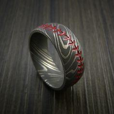 Damascus Steel Baseball Ring with Acid Wash Finish - Revolution Jewelry  - 1