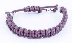 Mens Adjustable Brown Waxed Cotton Cord Bracelet with Silver Plated Beads on Etsy, £9.00