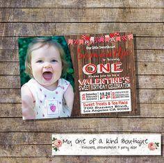 Birthday invitation valentine invite valentines wood rustic wood  photo invite country chic hearts digital printable invitation 13945 by myooakboutique on Etsy