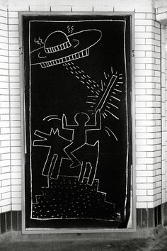 Keith Haring Subway Art Photo  | From a unique collection of black and white photography at https://www.1stdibs.com/art/photography/black-white-photography/