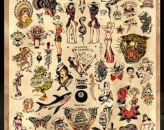 Sailor Jerry Tattoo Flash 2 Poster Print by MarkPaintAndPrints