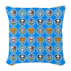animals, baby, baby shower, cat, cute, dog, Dolphin, elephant, kids, koala, owl, panda, parrot - throw pillow