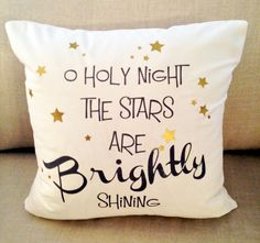 O Holy Night on White 18x18 Decorative Pillow Cover, Throw Pillow ,Toss Pillow, Accent Pillow