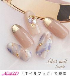 Blue Nail Designs, Beautiful Nail Designs, Shellac Nails, Nail Manicure, Cute Nails, Pretty Nails, Asian Nails, Korean Nail Art, Kawaii Nails