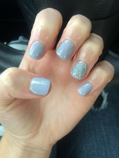 Dreamy pale blue powder blue and glitter silver sparkle nails Nexgen manicure. Perfect for winter or spring