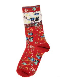 socks - Gorsuch Floral Socks, Floral Rug, Red Accessories, Wrist Warmers, Fashion Socks, Ruby Red, Slippers, Stockings, Women Socks