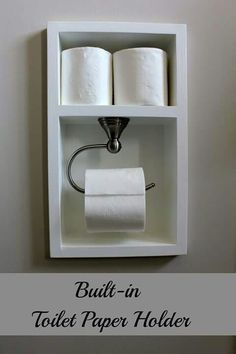 DIY toilet paper holder ideas are simple but interesting. Try one of these inspirations to spice up your bathroom or toilet. Diy Toilet Paper Holder, Recessed Toilet Paper Holder, Toilet Paper Storage, Toilet Roll Holder, Bad Inspiration, Bathroom Inspiration, Bathroom Storage, Small Bathroom, Small Toilet Room