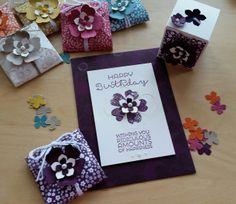 Stampin' Up! Demonstrator stampwithpeg – Favours to go with Cards and Tealights. These match the 'Flower Shop' cards and tealight holders I made last week, I have a craft fair thi…