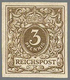"German Empire, 1889 crown and eagle. 3 Pfg. grayish brown, unperforated unhinged mint proof with tentative watermark ""Arabesken"", mint never hinged by Michel unpriced, hinge 2000,-, photo expertise Zenker (as normal UII) . In the literature a block of four is listed, that is missing, insofar possible unique    Dealer  Rauhut & Kruschel Stamp auction    Auction  Minimum Bid:  1000.00 EUR"