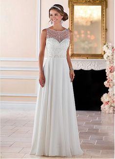 Graceful Tulle & Chiffon Sheer Illusion Jewel Neckline A-Line Wedding Dresses With Beaded Embroidery