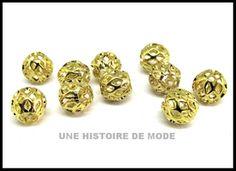 perles en métal doré / 7 mm - UNE HISTOIRE DE MODE