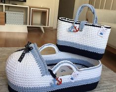 Baby Moses Basket , Baby Bassinet,Crocheted Moses Basket,gift for babies Baby Moses Basket Baby Stubenwagen gehäkelte Moses Basket Baby Moses, Crochet Home, Hand Crochet, Baby Patterns, Crochet Patterns, Granny Stripes, Artisanats Denim, Crochet Storage, Baby Baskets