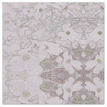 White/Neutrals Dogwood Floral Medallions Fabric