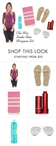 """""""Ella Mae Orange/Pink Snake Print Margaux Two Piece Swim Set"""" by modli ❤ liked on Polyvore featuring Havaianas, Fresh, COOLA Suncare and Sunny Rebel"""
