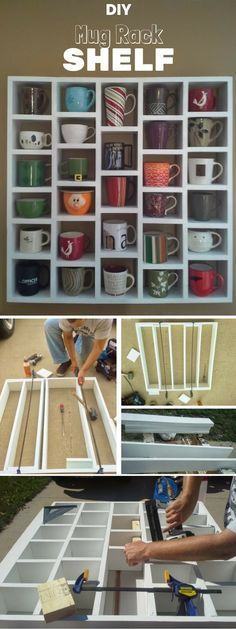Check out the tutorial: DIY Mug Rack Shelf