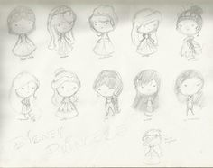 Disney Princesses (sketch) by gibby109