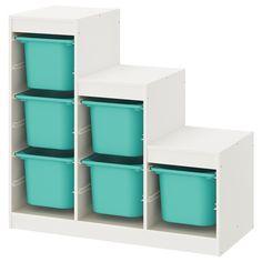 TROFAST Storage combination, white, turquoise, Children need room for play – and good storage for toys like TROFAST – a series of sturdy wooden frames and lightweight plastic boxes that your child can easily slide out, carry and put back again. Plastic Box Storage, Cube Storage, Wall Storage, Storage Boxes, Diy Toy Storage, Nursery Storage, Ikea Trofast Storage, Toy Organizer Ikea, Lineup