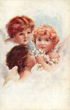 ■ Tuck DB...      three angels cluster, all look up | artist: possibly F. Brundage,  (first used 24/12/1907)