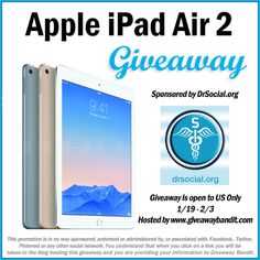 Enter To #Win iPad Air 2- by #drsocial from @pamelamaynard! WONDERFUL GIVEAWAY!!! Enter here http://momdoesreviews.com/2015/01/19/win-ipad-air-2-us-ends-23-drsocial/ For Your Chance To Win! YOU KNOW THAT I MOST DEFINITELY ENTERED THIS GIVEAWAY!!!! I WANT THIS!!!!!!!!! Thanks, Michele :)