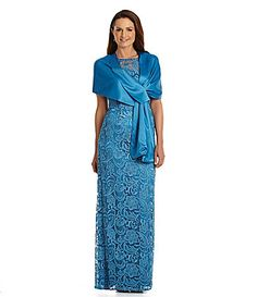 Adrianna Papell Lace Column Gown #Dillards