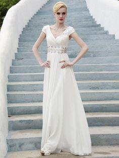 A-line V-neck White Beading Chiffon Floor-length Luxury Fashion Dress at Millybridal.com