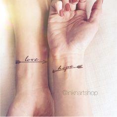 2pcs LOVE HOPE pair arrows set - InknArt Temporary Tattoo - wrist quote tattoo body sticker fake tattoo wedding tattoo small tattoo