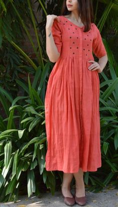 Dresses - Peach Khadi V Neck Dress with Polka Applique Dress Neck Designs, Blouse Designs, Chudi Neck Designs, Linen Dresses, Cotton Dresses, Kurta Neck Design, Churidar Neck Designs, Frock For Women, Frock Fashion