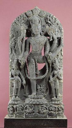 Cosmic Visnhu (Trivikrama) with Spouses,11th century  India: West Bengal or Bangladesh, 1000-1099 Chlorite 57 x 28 in. (144.8 x 71.1 cm) Norton Simon Art Foundation