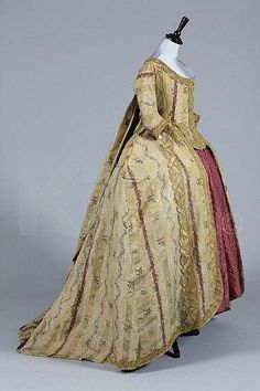 Robe a la francaise, silk brocade trimmed with gold bobbin lace, c. 1770, Spanish or Italian.
