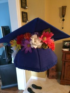Flowers under graduation cap