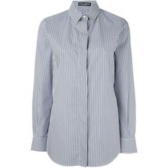 Dolce & Gabbana striped shirt ($365) via Polyvore featuring tops, blue, striped collared shirt, long sleeve shirts, blue shirt, striped long sleeve shirt y long sleeve collared shirts