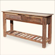 Rustic Reclaimed Wood 2 Tier Storage Drawer Console Foyer Entry Way Hall Table