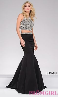 ff2902e2b Two-Piece Jovani Prom Dress with Beaded Top at PromGirl.com Prom Dresses  Jovani