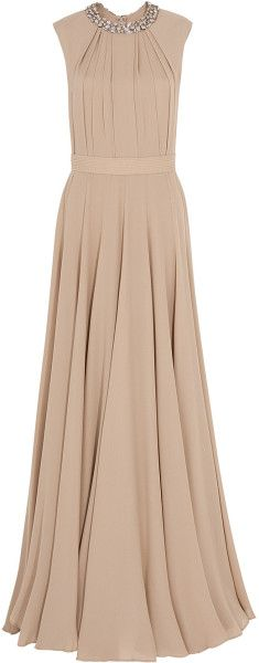 Elie Saab Embellish Collar Georgette Gown in Beige (gold) - Lyst