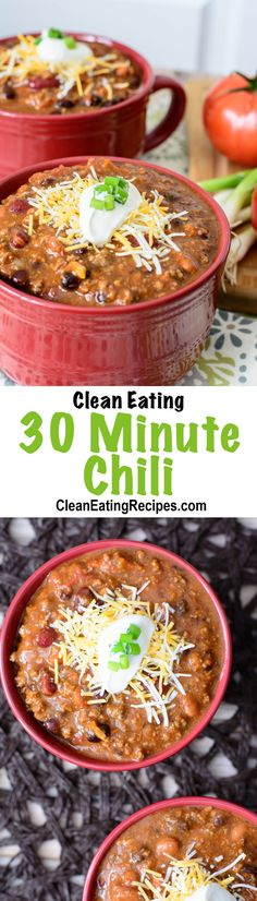 Super-Quick Clean Eating 30 Minute Chili Recipe - I love how easy it is to throw this together. You literally just dump in a bunch of cans of food and add some seasoning. My kids love this chili, especially on navajo tacos.