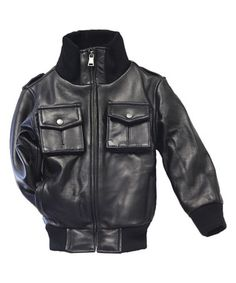 Look what I found on #zulily! Black Leather Bomber Jacket - Infant, Toddler & Kids by Tanners Avenue #zulilyfinds