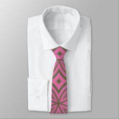 Pink, green abstract geometric pattern modern tie