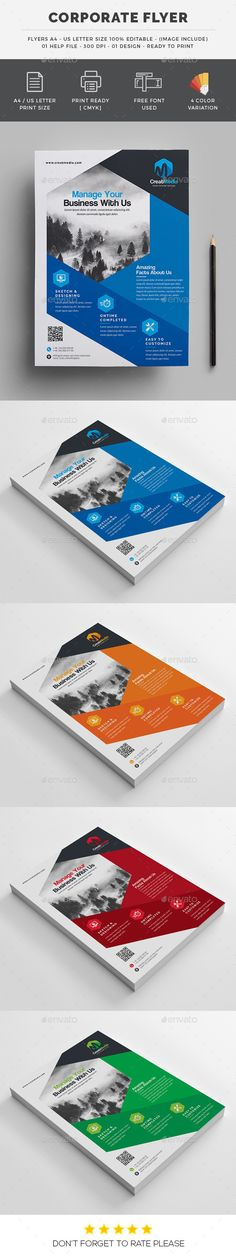 "Corporate Flyers by generousart File Information: Easy Customizable and EditableBusiness Flyer 8.75""x11.25�20in with bleedCMYK ColorDesign in 300 DPI ResolutionPri"