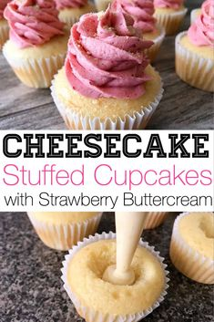 These Strawberry Cheesecake Cupcakes bring together the best of two different desserts! Moist vanilla cake, filled with creamy cheesecake and topped with the best fluffy strawberry buttercream frosting. Strawberry Cheesecake Cupcakes, Cheesecake Frosting, Carrot Cake Cheesecake, Strawberry Buttercream, Buttercream Frosting, Oreo Cupcakes, Moist Strawberry Cupcake Recipe, Strawberry Cupcakes With Filling, Best Cupcakes