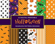 Give your halloween some fun with these perfectly cute seamless digital paper designs. This pack includes 12 super cute seamless patterns that are perfect for scrapbooking, cards, posters and more!