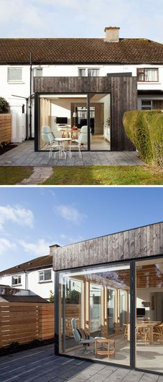 For this house in Dublin was an extension of charred wood and glass e - Anbau Garage Extension, Small House Extensions, Pergola With Roof, Glass Extension, Contemporary House, Roof Design, British Architecture, Dublin House, Timber Garage