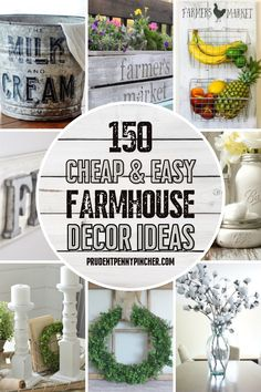 Get the country look on a budget with these cheap and easy DIY farmhouse decor ideas. There are DIY home decor ideas for your bedroom, bathroom, kitchen, and living room to choose from. Diy Bathroom Decor, Diy Home Decor, Small Bathroom, Bathroom Ideas, Country Bathroom Decorations, Primitive Bathroom Decor, Bathroom Art, Bathrooms, Farmhouse Kitchen Decor