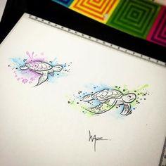 Turtle Watercolor Sketch #Equilattera #tattoo #tattoos #tat #tatuaje #tattooed #tattooart ...