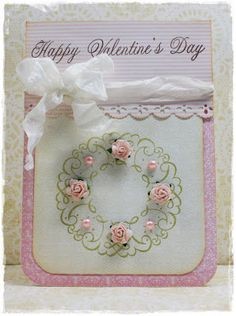Flowers & pearls on Stamped Wreath  Great for birthday