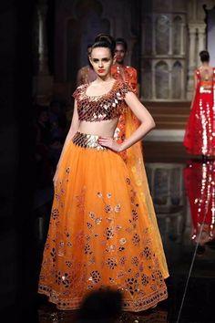 my favourite lehanga from Abu jani sandeep khosla India Bridal Week 2015 collection. #Bridal #Indian #Ethnic #Lehanga #Orange #Mirror