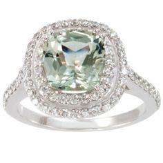 Green Amethyst & Double Halo Diamond Ring